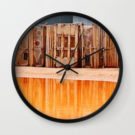 Lobster Traps and Red Sand Wall Clock