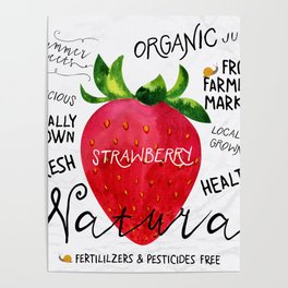 Watercolor strawberry Poster