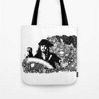 jack sparrow Tote Bags featuring Jack Sparrow by Ink Tales