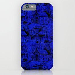 V25 Blue Architecture Design Traditional Moroccan Rug Background. iPhone Case
