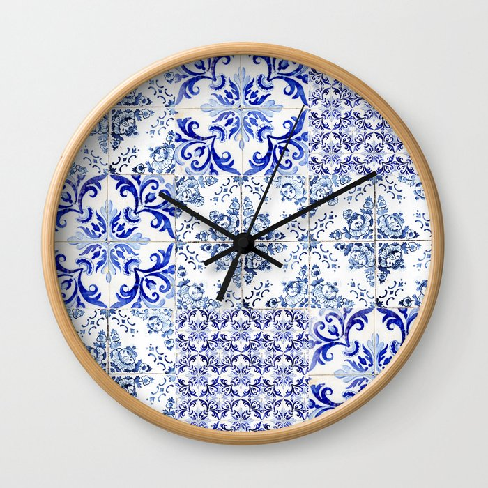 Azulejo VIII - Portuguese hand painted tiles Wall Clock