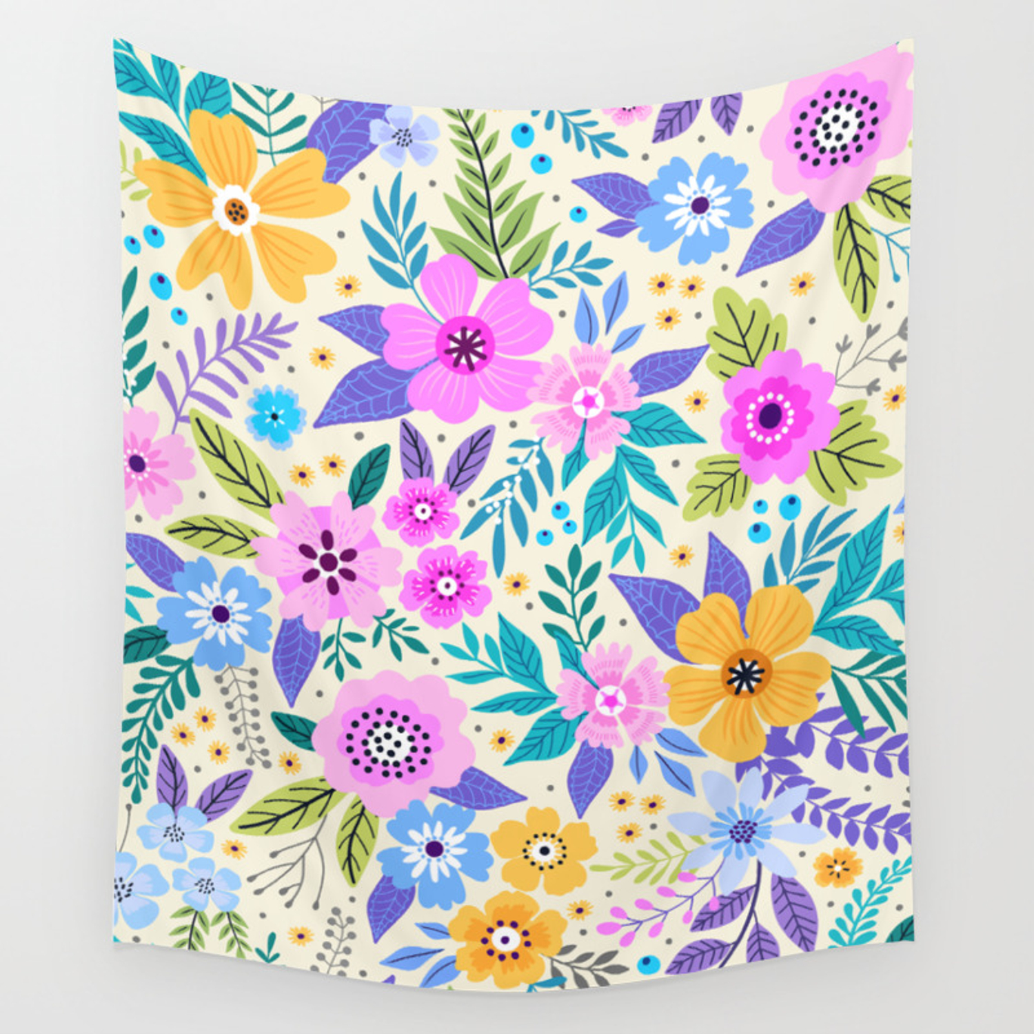 13 Amazing Floral Pattern With Bright Colorful Flowers White
