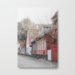 Pink house on Aarhus' old city street | Møllestien, Aarhus, Denmark Metal Print