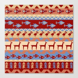 Inca Animals Fish and Birds Pattern Canvas Print