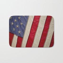 Macro Photo of an American Flag in the Sun Light Bath Mat