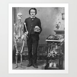 Edgar Allan Poe with Skull and Skeleton macabre black and white photograph Art Print