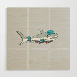 The Shark Skater Wood Wall Art