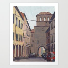 STREET SCENE, Bologna Travel Sketch by Frank-Joseph Art Print