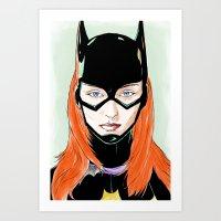 batgirl Art Prints featuring Batgirl by Matthew Bartlett