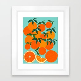 Orange Harvest - Blue Framed Art Print