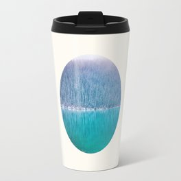 Mid Century Modern Round Circle Photo Frosty Pine Trees Meets Cool Blue Lake Travel Mug