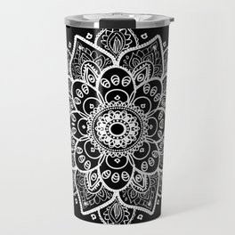White Mandala On Black Travel Mug