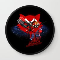 rocket raccoon Wall Clocks featuring Rocket Raccoon by Markusian