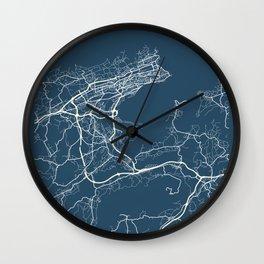 Santander Blueprint Street Map, Santander Colour Map Prints Wall Clock