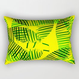 Pattern of green feathers and leaves on a yellow background. Rectangular Pillow