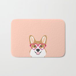 Corgi Love - Valentines heart shaped glasses on funny dog for dog lovers pet gifts customizable dog  Bath Mat