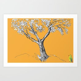 Tree and parrot Art Print