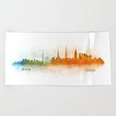 Tokyo City Skyline Hq V3 Beach Towel