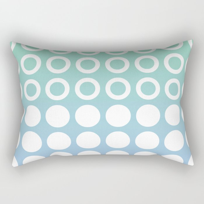 Mid Century Modern Circles And Dots Blue and Green Rectangular Pillow