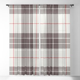 White Tartan with Black and Red Stripes Sheer Curtain