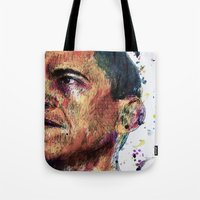 obama Tote Bags featuring OBAMA by benjamin james