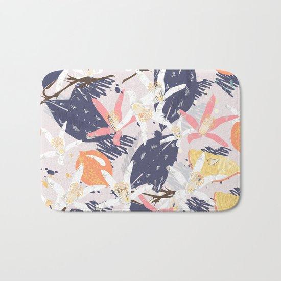 Tropical lemons. Trendy print Bath Mat