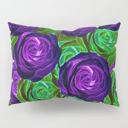 blooming rose texture pattern abstract background in purple and green Pillow Sham