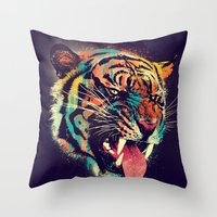 power Throw Pillows featuring FEROCIOUS TIGER by dzeri29