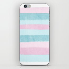 Painted pastel candyland stripes minimal art by charlotte winter iPhone Skin