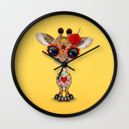 Red and Yellow Day of the Dead Sugar Skull Baby Giraffe Wall Clock