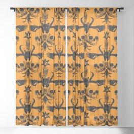 The Flying Black Cat Spell | damask || orange pumpkin Sheer Curtain