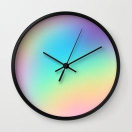 Soft Pastel Rainbow Ombre Design Wall Clock