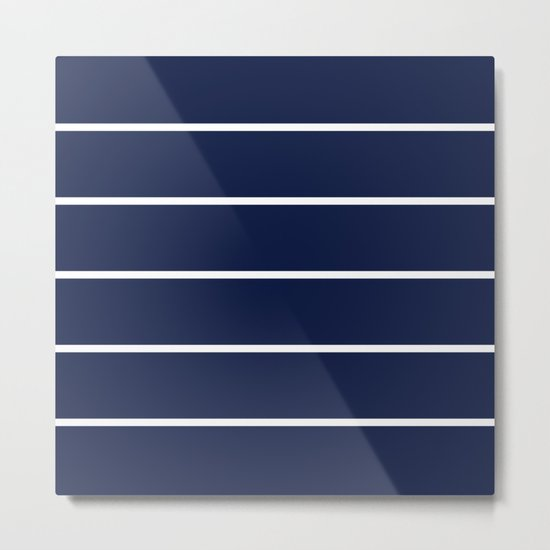 Indigo Navy Blue Pinstripes Metal Print