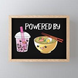 Powered by Ramen and Boba-Tea Framed Mini Art Print