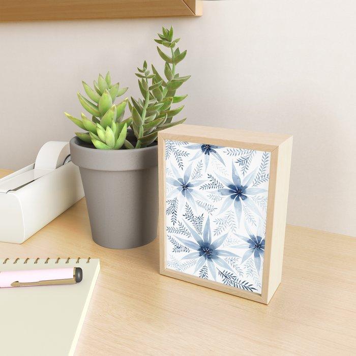 Winter Blue Flowers Framed Mini Art Print