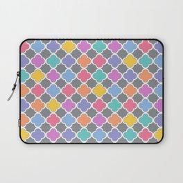 Rainbow & Gray Quatrefoil Laptop Sleeve