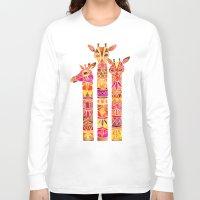 giraffes Long Sleeve T-shirts featuring Giraffes – Fiery Palette by Cat Coquillette