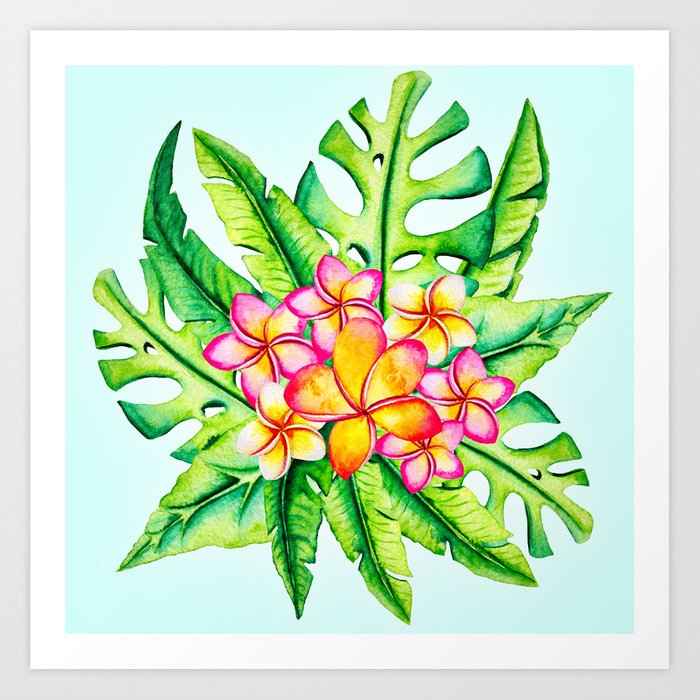 Bright Tropical Flower Bouquet Art Print by context | Society6