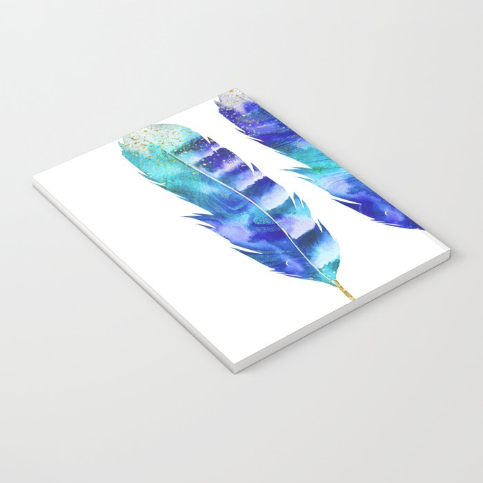 Blue Turquoise Watercolor Feather Art Notebook