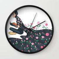 tyler spangler Wall Clocks featuring Flowering Tyler by poweredbycokezero