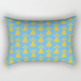 French Country Blue and Gold Ermine Spots Patterned Print Rectangular Pillow