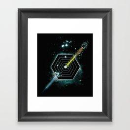 Space and Time Fragmentation Ship Framed Art Print