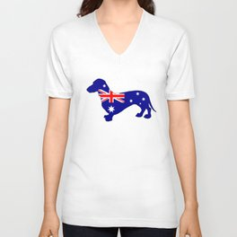 Australian Flag - Dachshund Unisex V-Neck