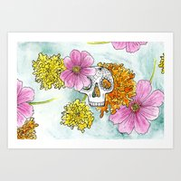 Cosmos n' Marigolds Art Print