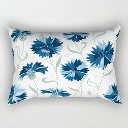 Blue cornflowers on white Rectangular Pillow