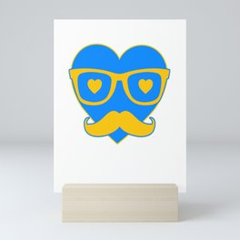 Hipster Heart Love Love Valentine's Day Mini Art Print