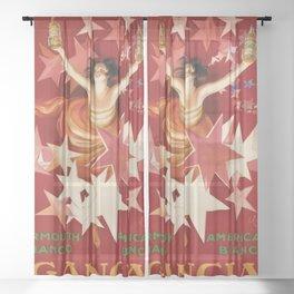 Vintage 1921 Italian Gancia Vermouth Advertisement by Leonetto Cappiello Sheer Curtain