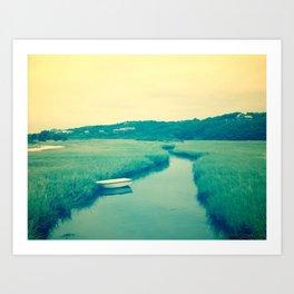 Boat at Marsh Art Print