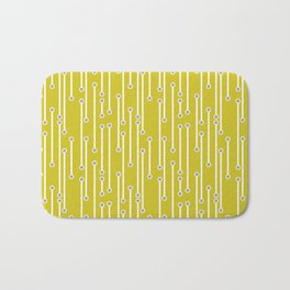 Dotted Lines in white and gray on mustard yellow Bath Mat