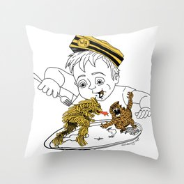 Food Fight Throw Pillow